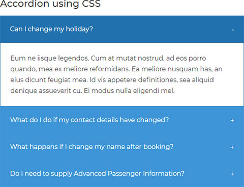 Accordion using CSS only